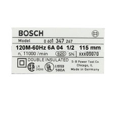 Bosch 1 611 104 074 Nameplate Image