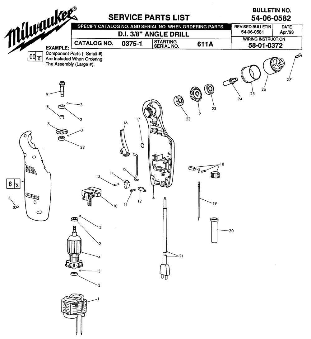 Milwaukee Angle Drill Wiring Diagram Trusted Diagrams Sawzall Buy 0375 1 611a D I 3 8 Replacement Tool Parts Breakdown