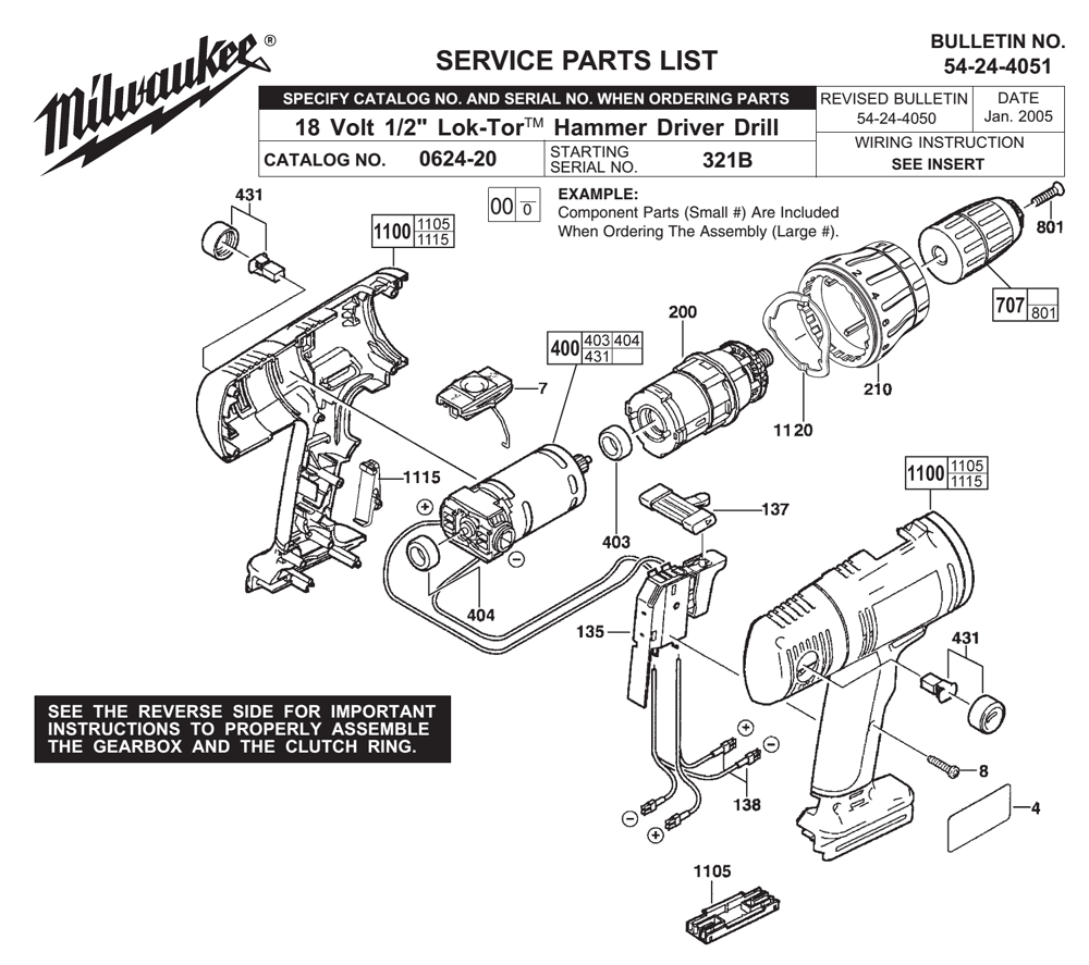 Milwaukee 12-20-1080 Service Name Plate For 0624-20 Hammer Drill