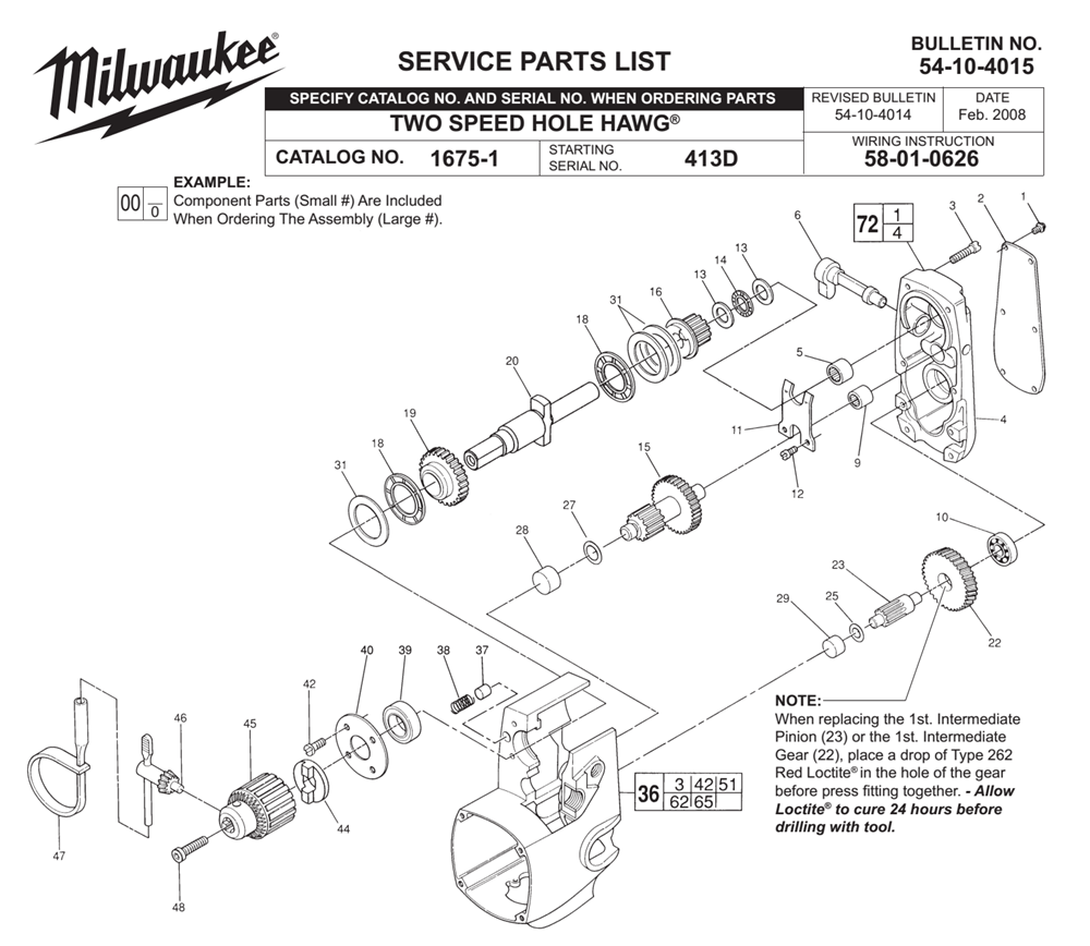 38-50-5000 Replacement Spindle for Milwaukee HOLE HAWG
