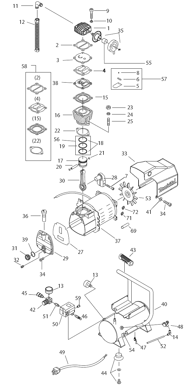 Buy Makita Mac700 2 Hp Air Replacement Tool Parts A Wilton D6 List And Diagram Ereplacementpartscom Schematic