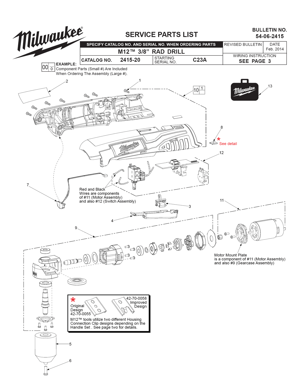 Milwaukee Switch Wiring Diagram Libraries Drill Buy 2415 20 C23a Replacement Tool Parts 2415milwaukee