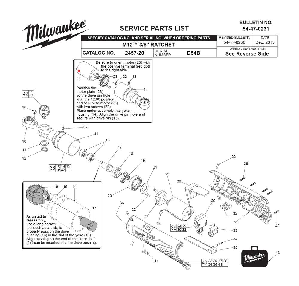 Buy Milwaukee 2457 20 D54b Replacement Tool Parts Wilton 846 List And Diagram Ereplacementpartscom Fig 0