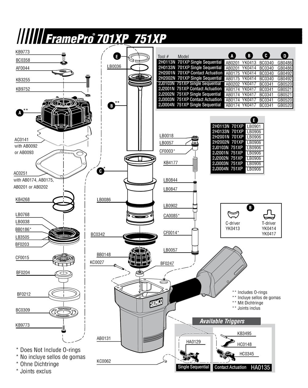 Senco Framing Nailer Parts Diagram - Schematics Wiring Diagrams •
