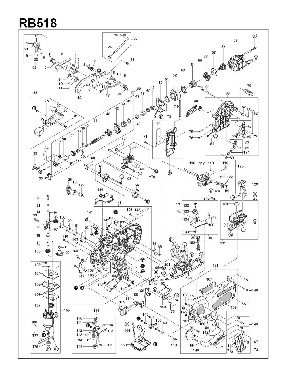 Buy Max Rb518 Replacement Tool Parts A Href Ryobi Ry29550 List And Diagram Ereplacementpartscom Schematic