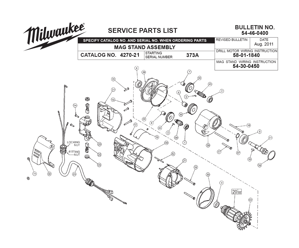 Buy Milwaukee 4270 21 373a Replacement Tool Parts Ryobi Ry29550 List And Diagram Ereplacementpartscom Fig 0