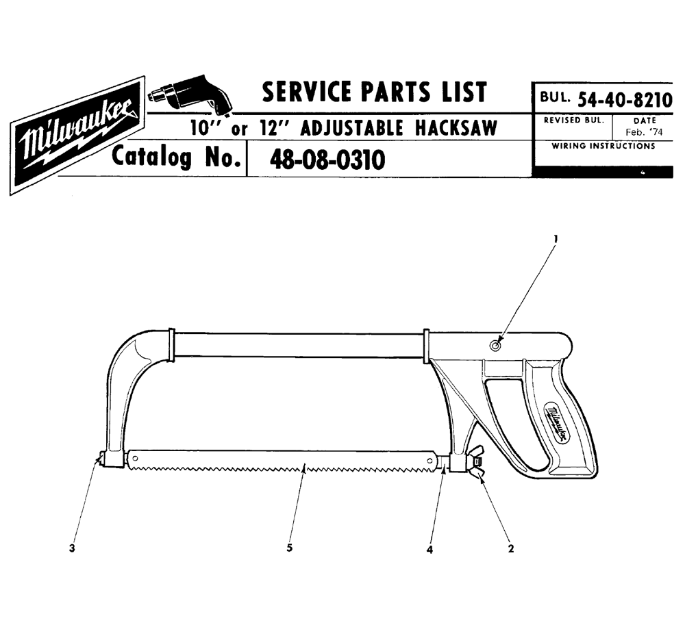 Buy Milwaukee 48 08 0310 10 Or 12 Adjustable Hacksaw Replacement Wilton Sbv100 Parts List And Diagram Ereplacementpartscom Schematic