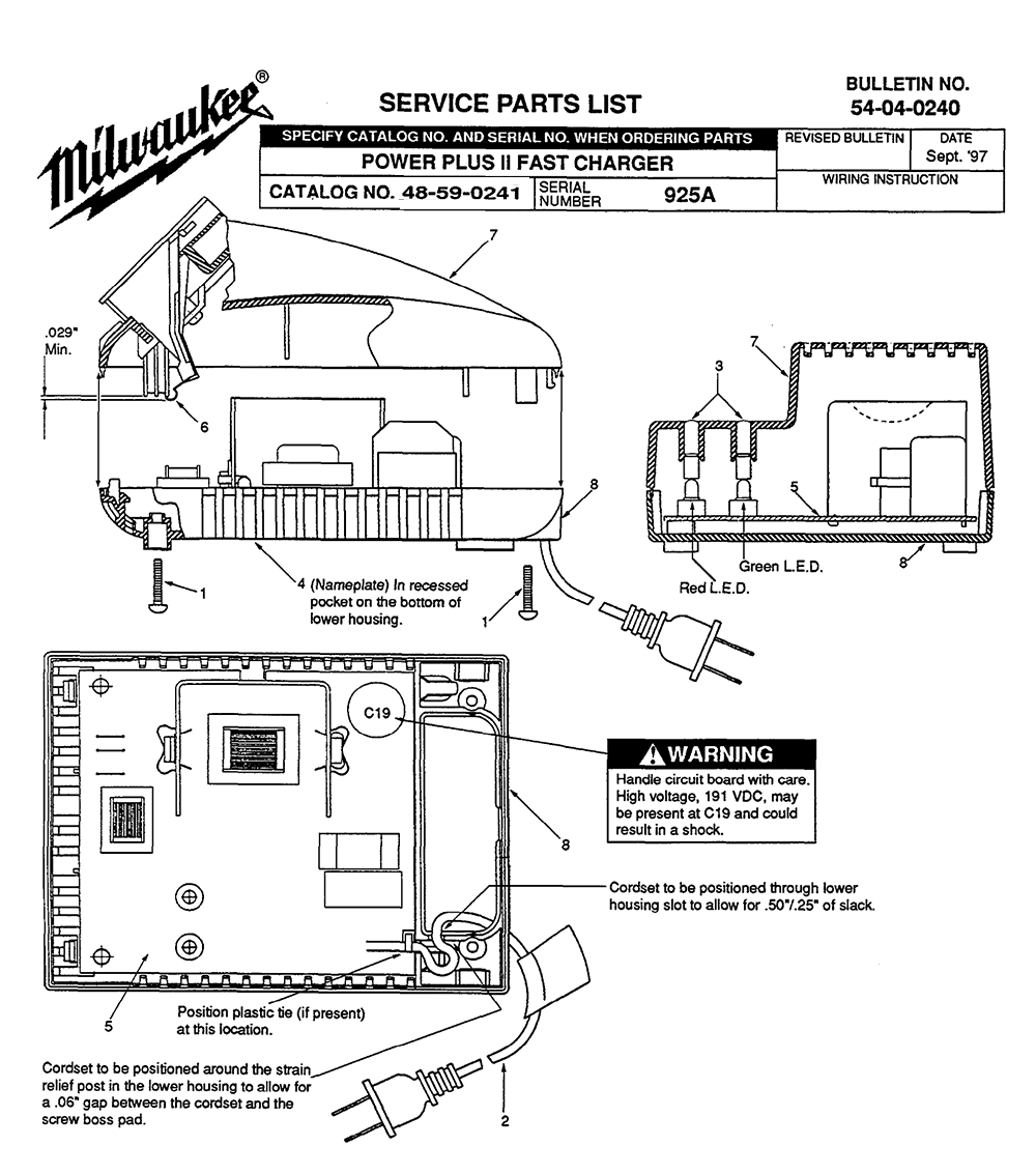 Milwaukee M12 Charger Wiring Diagram Electrical Diagrams On Board Battery Buy 48 59 0241 925a Power Plus Ii Fast