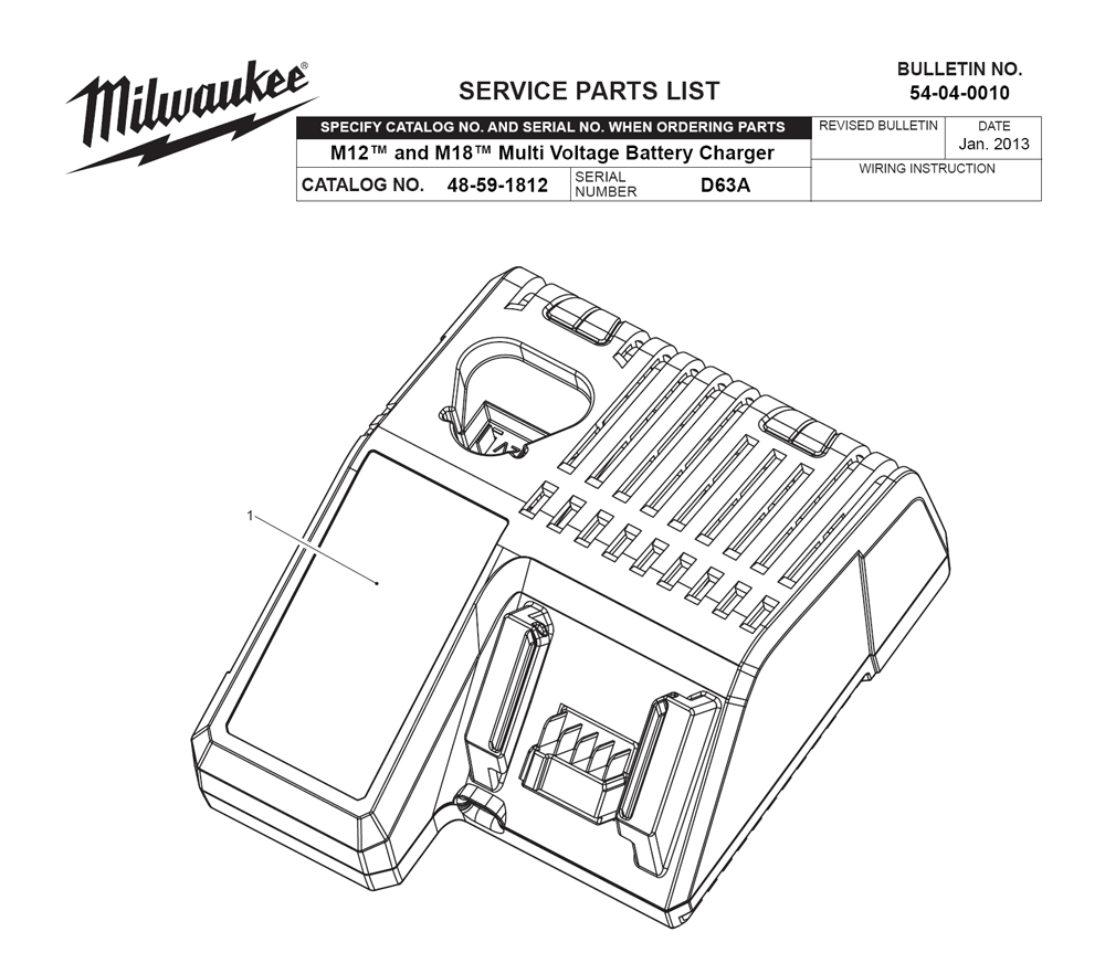 Milwaukee Battery Charger Schematic Diagram Reinvent Your Wiring Powerwise Buy 48 59 1812 D63a M18 M12 Multi Voltage Rh Toolpartspro Com Century General Electric