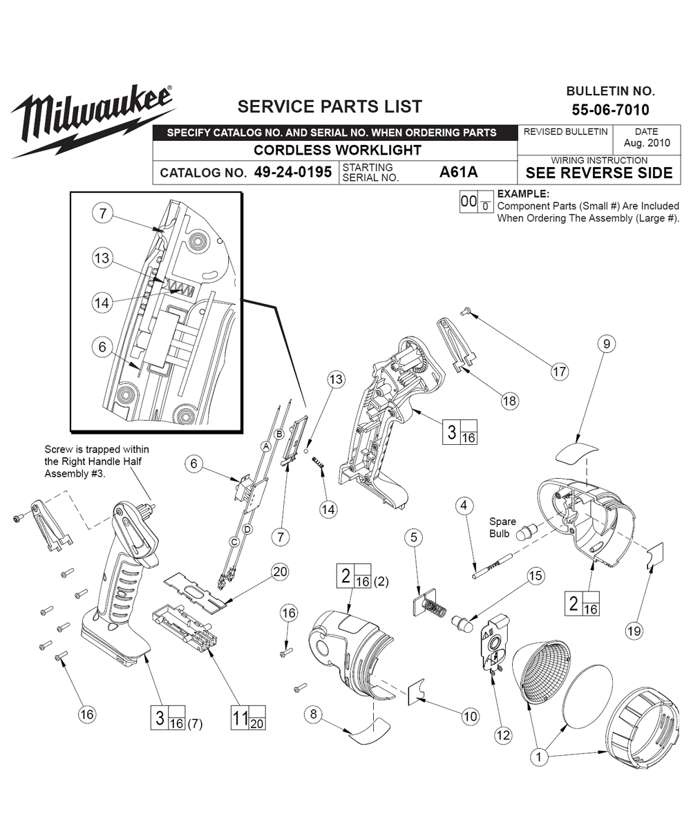 buy milwaukee 49 24 0195 a61a cordless worklight replacement tool Mini Mag Flashlight Parts fig