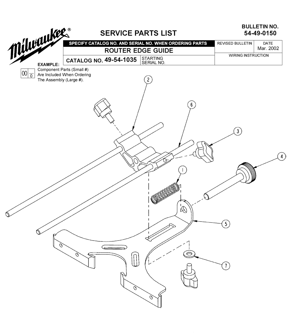 Buy Milwaukee 49 54 1035 Router Edge Guide Replacement Tool Parts Wilton C0 List And Diagram After 1998 Ereplacementparts Schematic
