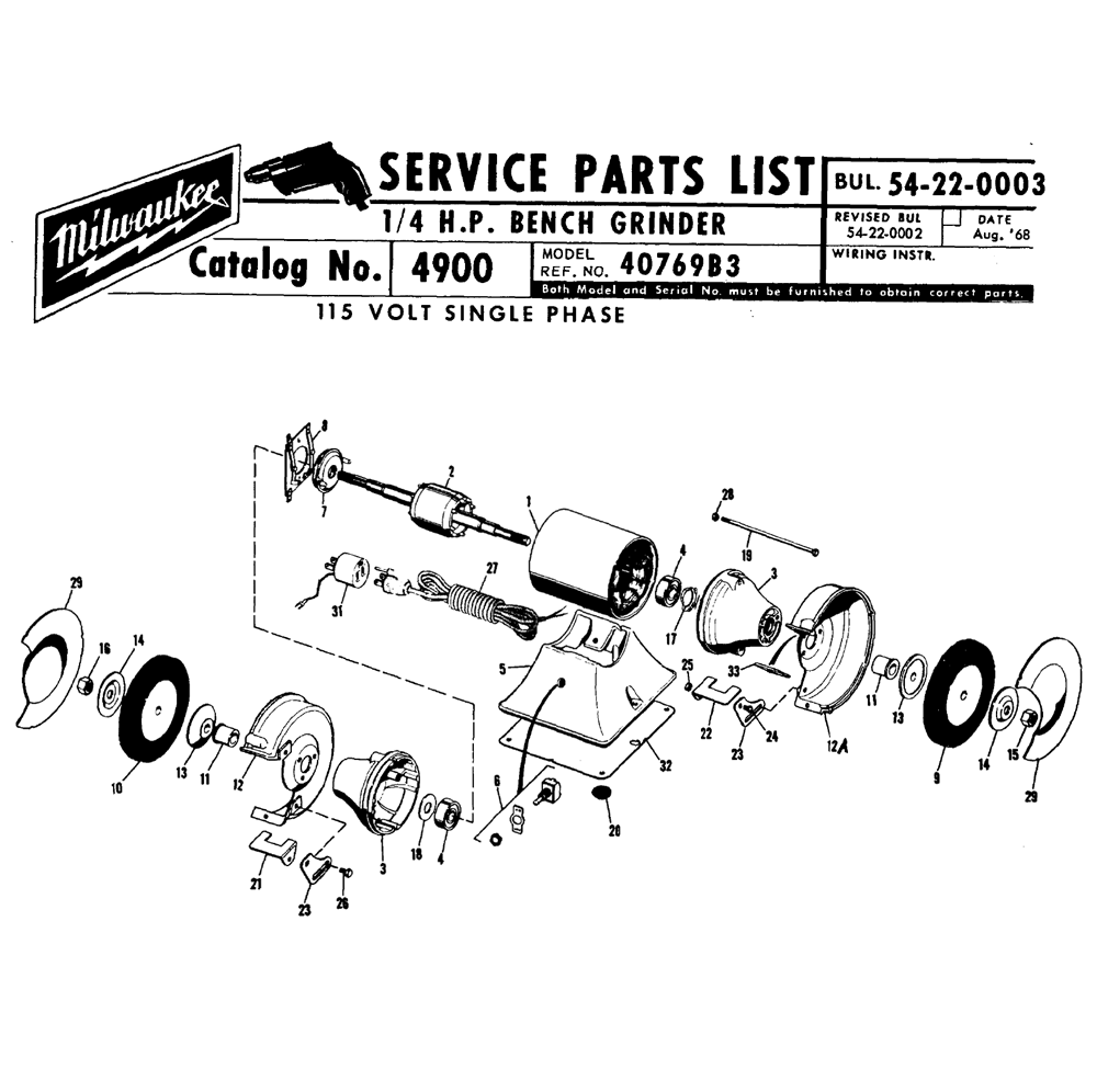 Buy Milwaukee 4900 40769b3 1 4 Hp Bench Replacement Tool Parts Delta Grinder Wiring Diagram Schematic