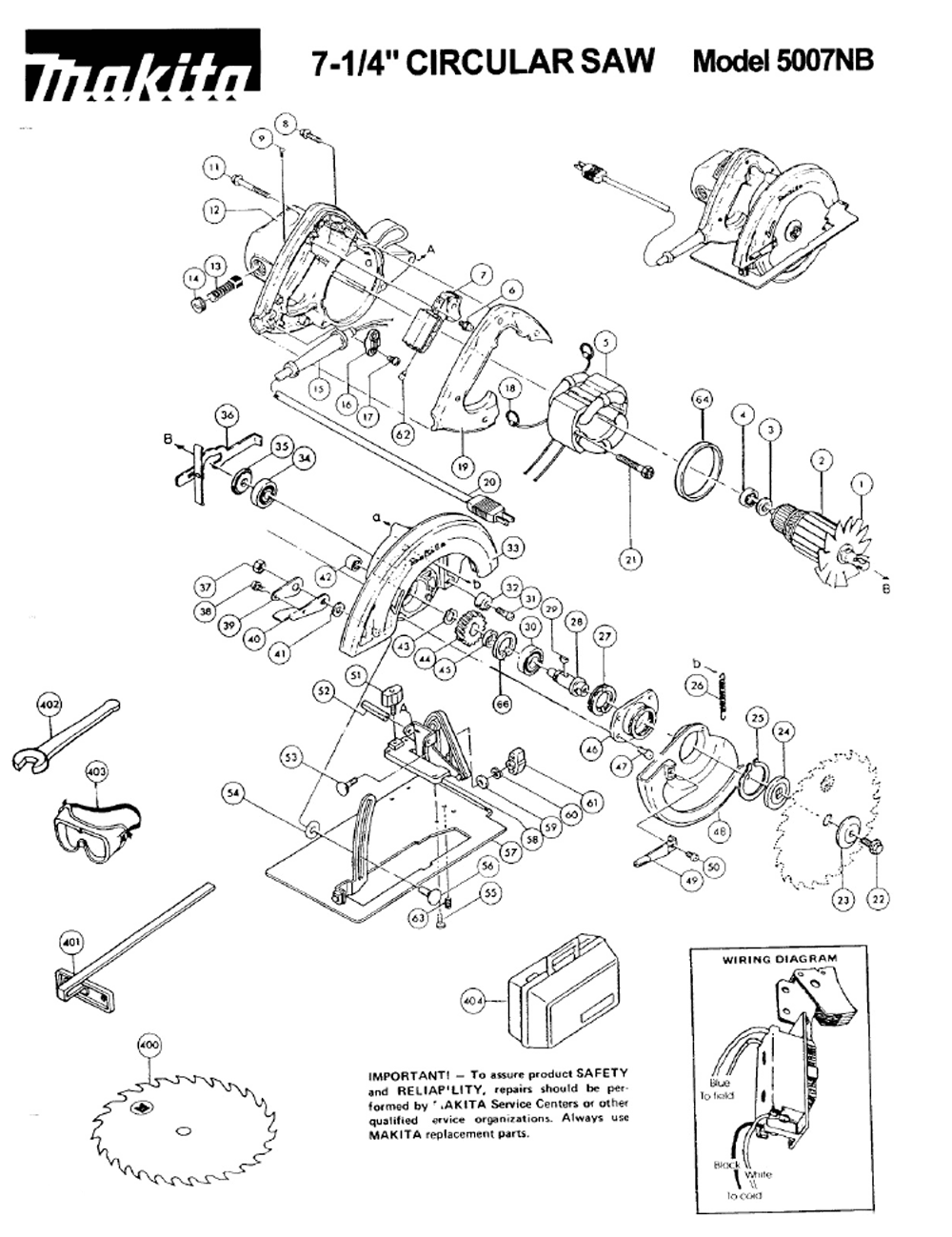 Makita 5007nb Parts List And Diagram Ereplacementpartscom | #1 ... on