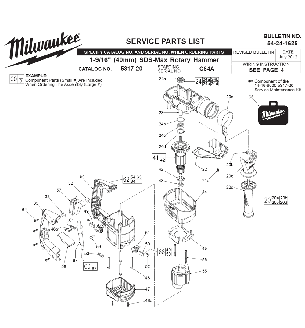 Buy Milwaukee 5317 20c84a Replacement Tool Parts Wilton D6 List And Diagram Ereplacementpartscom Fig 0