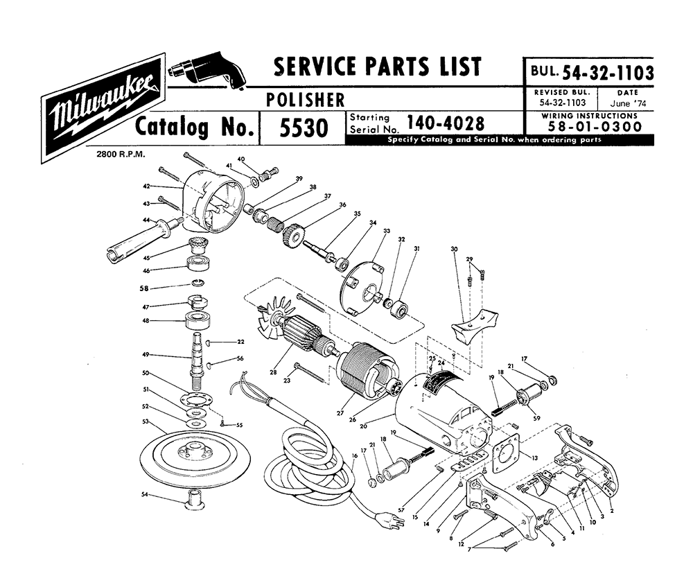 Buy Milwaukee 5530 140 4028 Replacement Tool Parts Chicago 7 Polisher Wire Diagram Fig 0