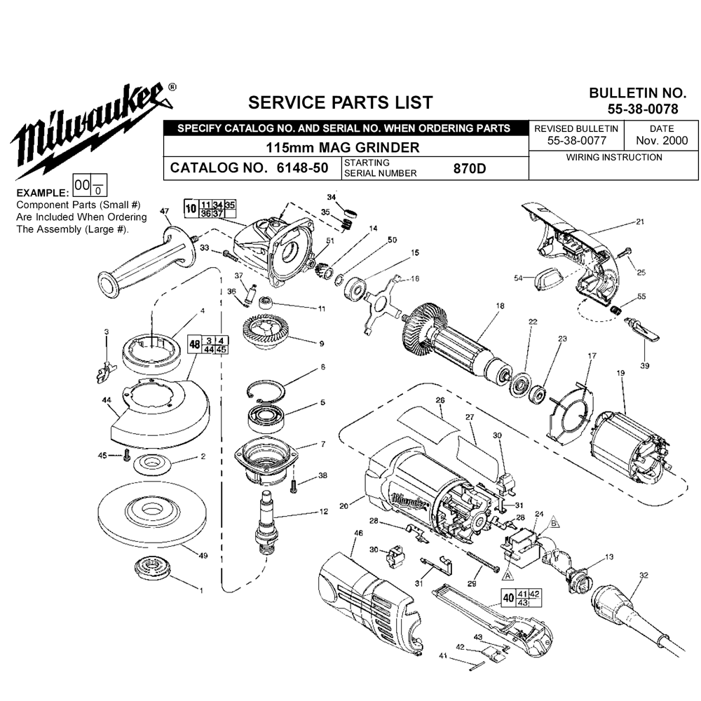 Buy Milwaukee 6148 50 870d Replacement Tool Parts Wiring Diagram And List For Black Decker Grinderparts Fig 0