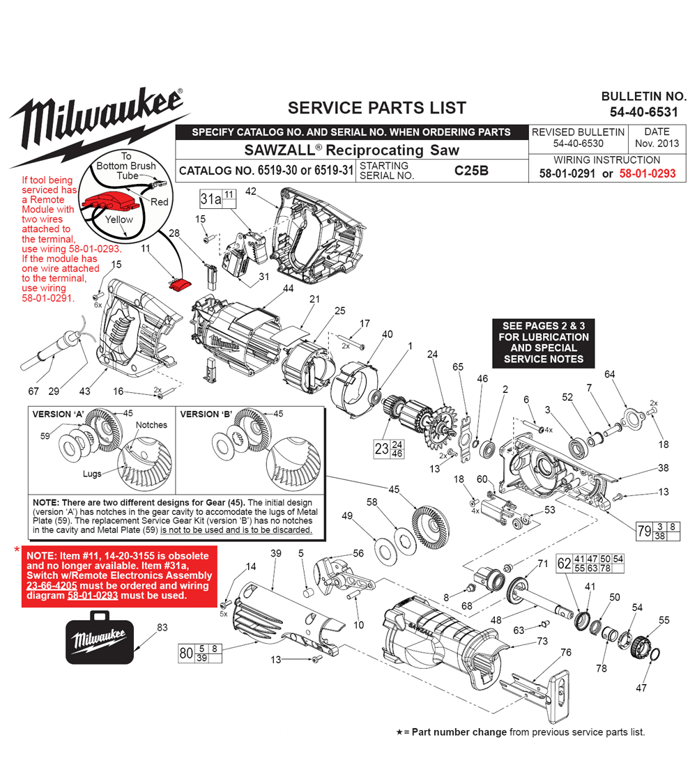 buy milwaukee 6519 31 c25b sawzall reciprocating replacement tool rh toolpartspro com Replacement Parts for Milwaukee Sawzall the Hatchet milwaukee super sawzall parts diagram