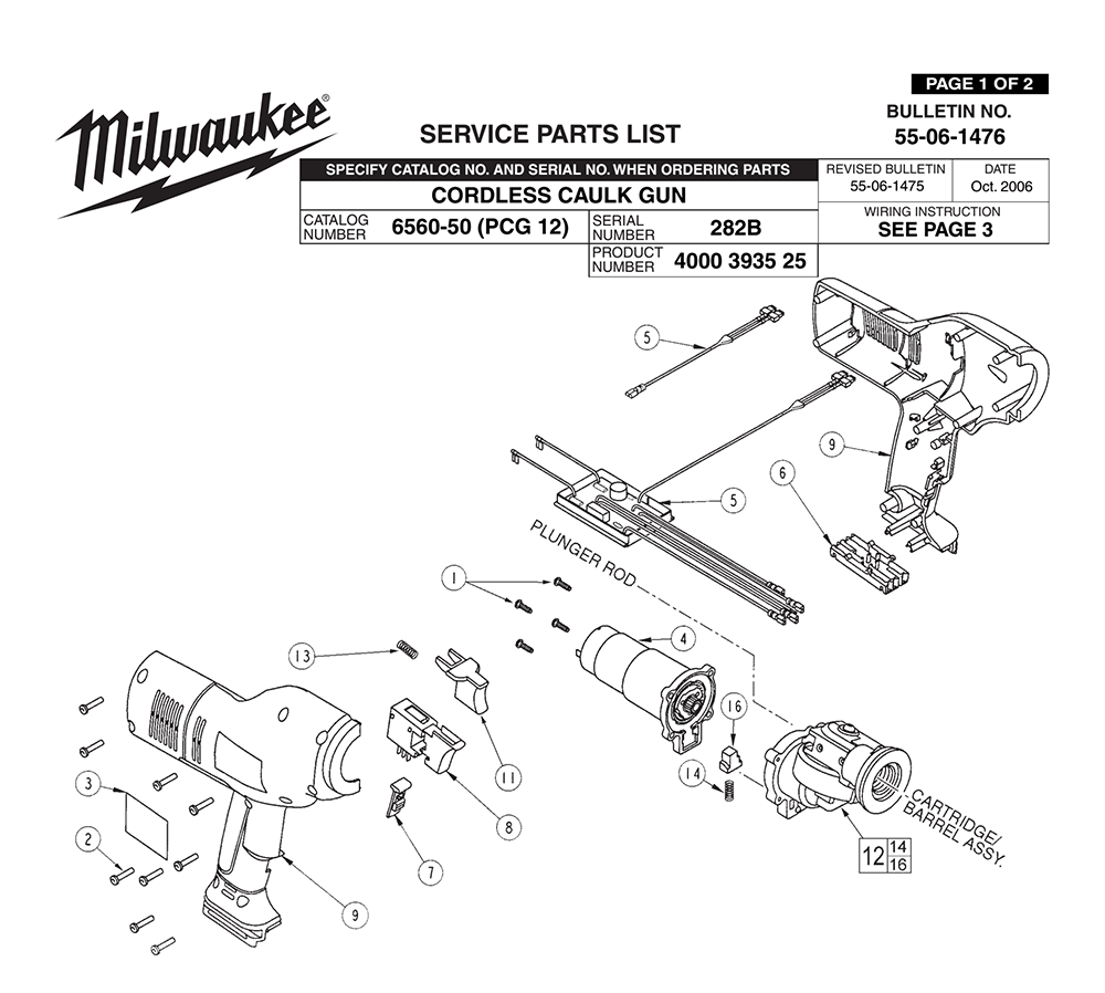 milwaukee 6560 50 282b PB buy milwaukee 6560 50 (282b) cordless caulk gun replacement tool milwaukee hole hawg wiring diagram at bakdesigns.co