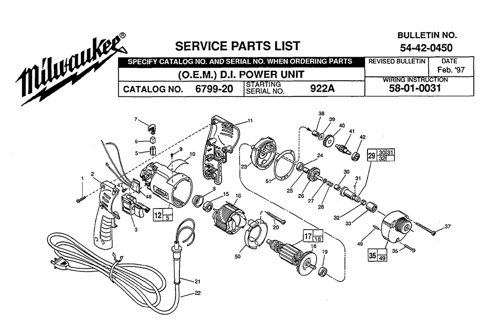 Buy Milwaukee 6799 20 922a Replacement Tool Parts