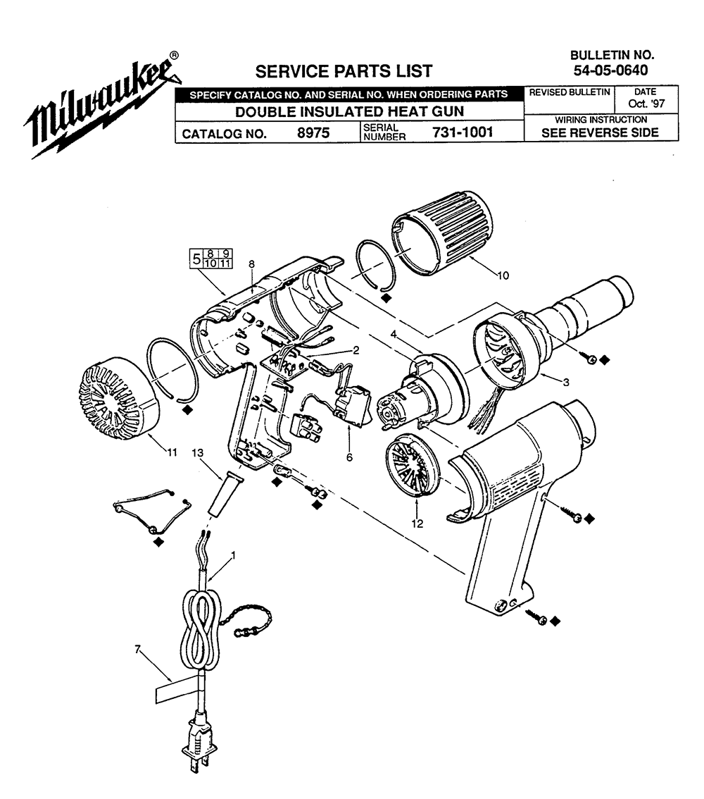 buy milwaukee 8975 (731 1001) replacement tool parts milwaukee  mikwaukee wiring diagram heat gun #44