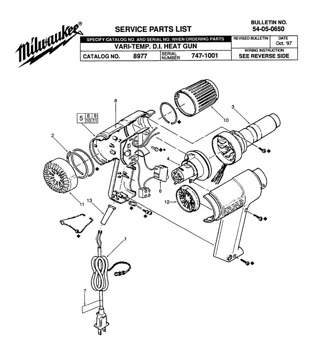 buy milwaukee 8977 (747 1001) replacement tool parts milwaukee  mikwaukee wiring diagram heat gun #9