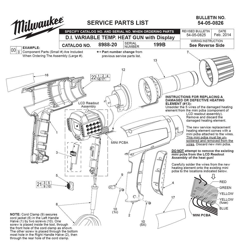 buy milwaukee 8988 20 (199b) replacement tool parts milwaukee 8988  mikwaukee wiring diagram heat gun #4