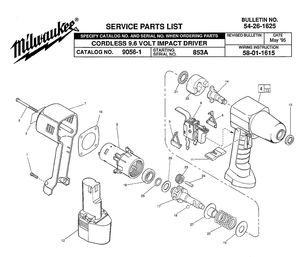 Buy Milwaukee 9056-1-(853A) Replacement Tool Parts ... on international box truck, international military vehicles, international engine diagrams, international emblem, international truck electrical diagrams, international dump truck, international fuse box diagram, ford truck electrical diagrams, international log trucks, international motor diagrams, international air conditioning diagrams, international scout wiring circuits, international ac wiring, international navistar parts diagrams,