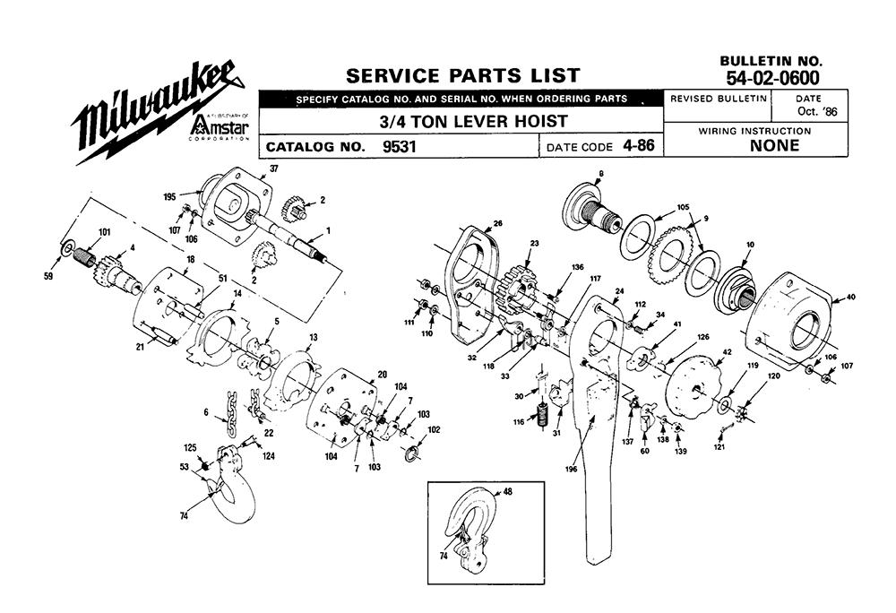 buy milwaukee 9531 (4 86) 3 4 ton hand chain hoist replacement tool Mini Harrington Chain Hoist