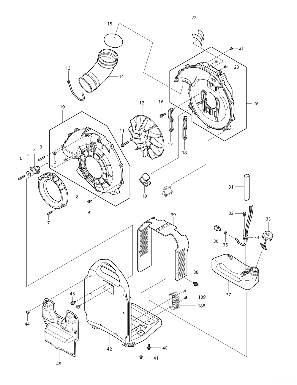 Makita BBX7600N Parts Schematic