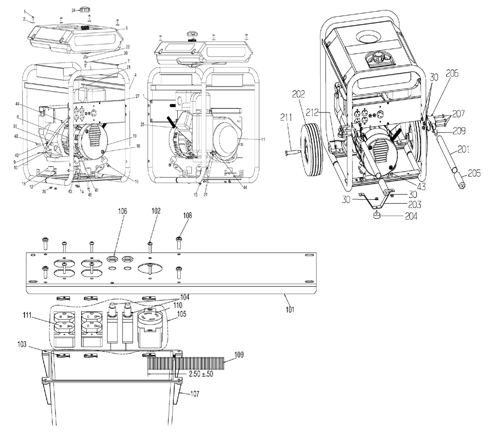 Porter Cable BSV550-W Type-1 Parts Schematic
