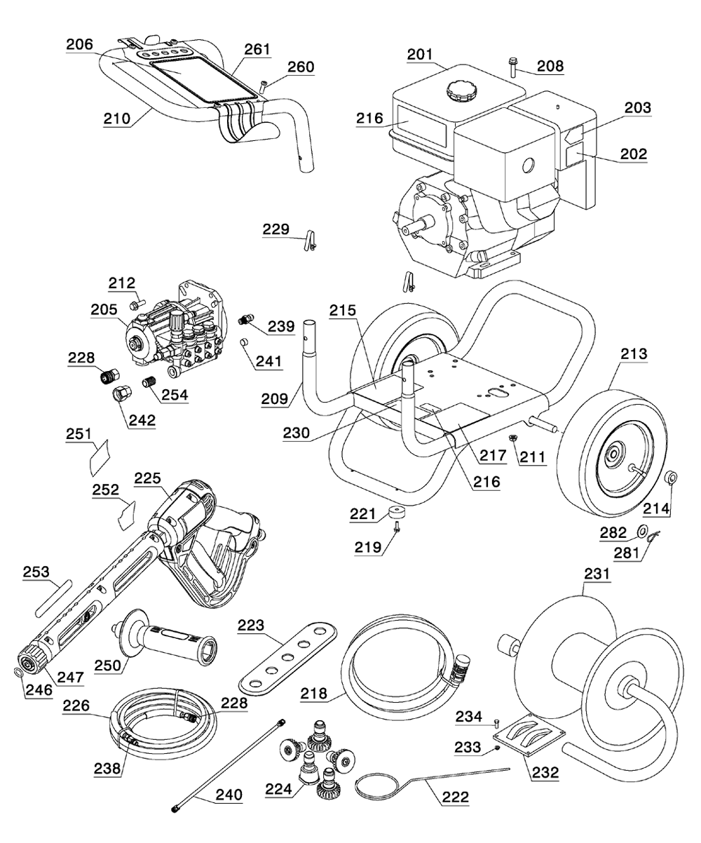Dewalt DPH3800 TYPE 1 Parts Schematic