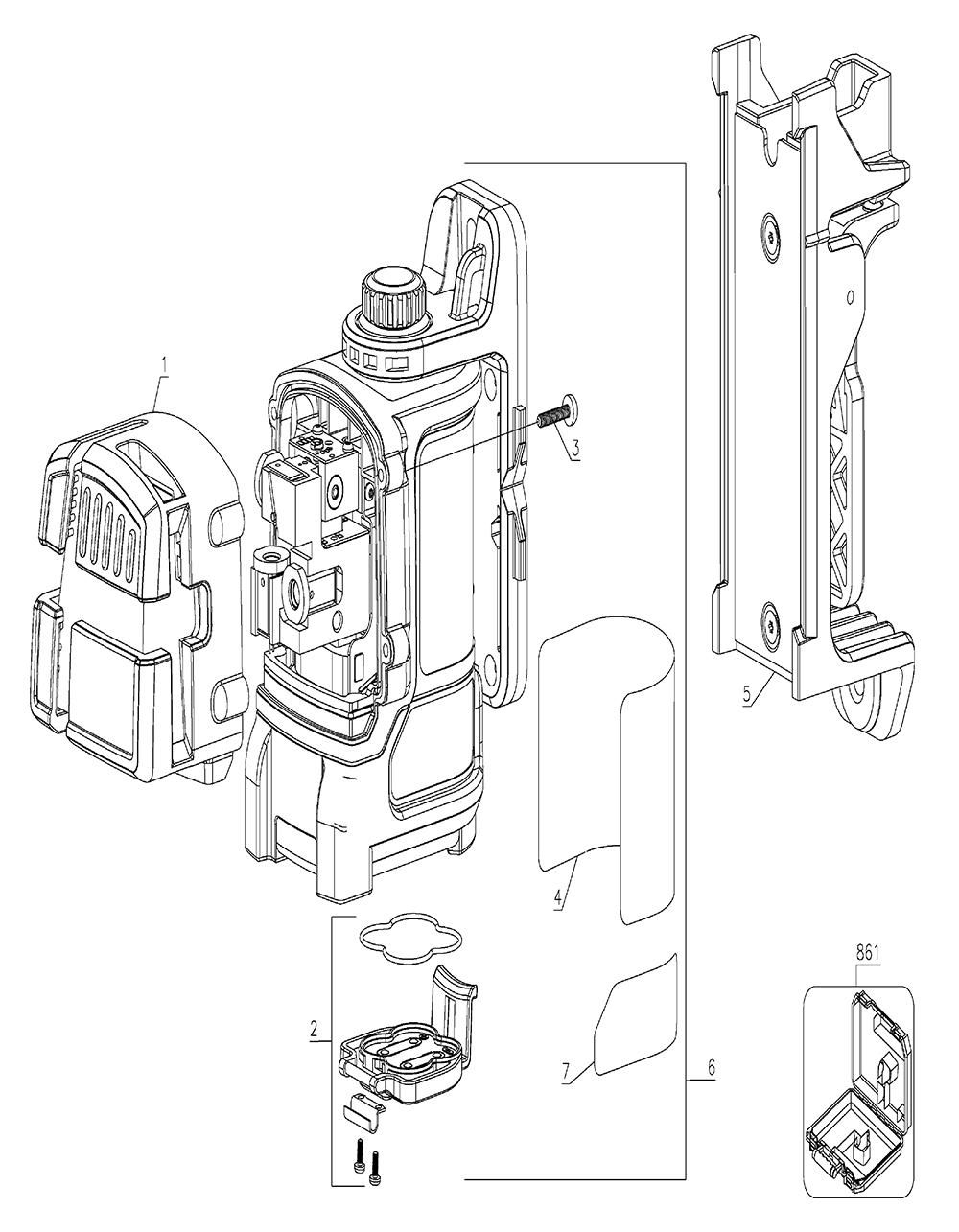 Buy Dewalt Dw089k Type 1 Self Leveling 3 Beam Line Laser Replacement Wilton D6 Parts List And Diagram Ereplacementpartscom Schematic