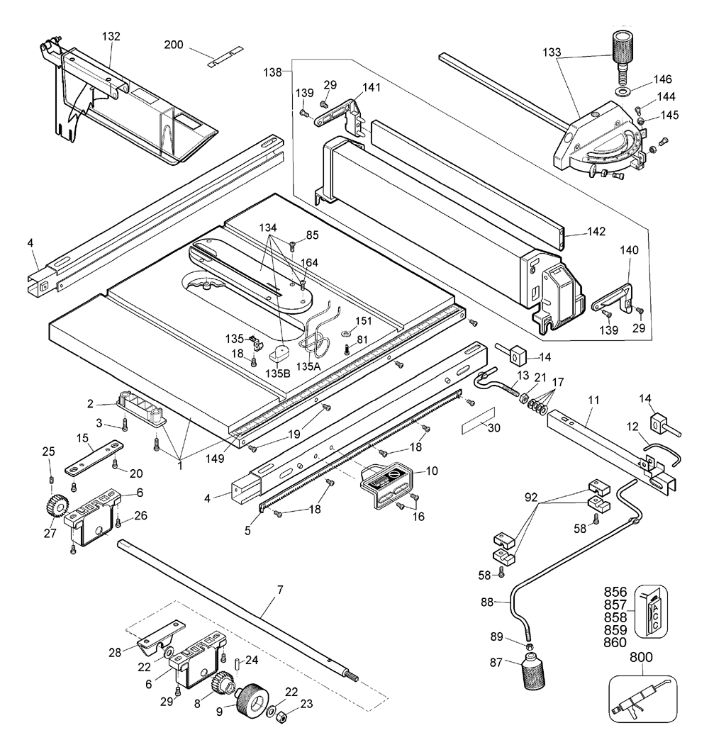 Dewalt DW744 Type-2 Parts Schematic