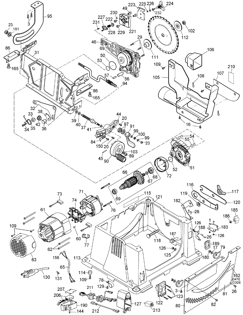 DeWalt DW744X Type-6 Parts Schematic