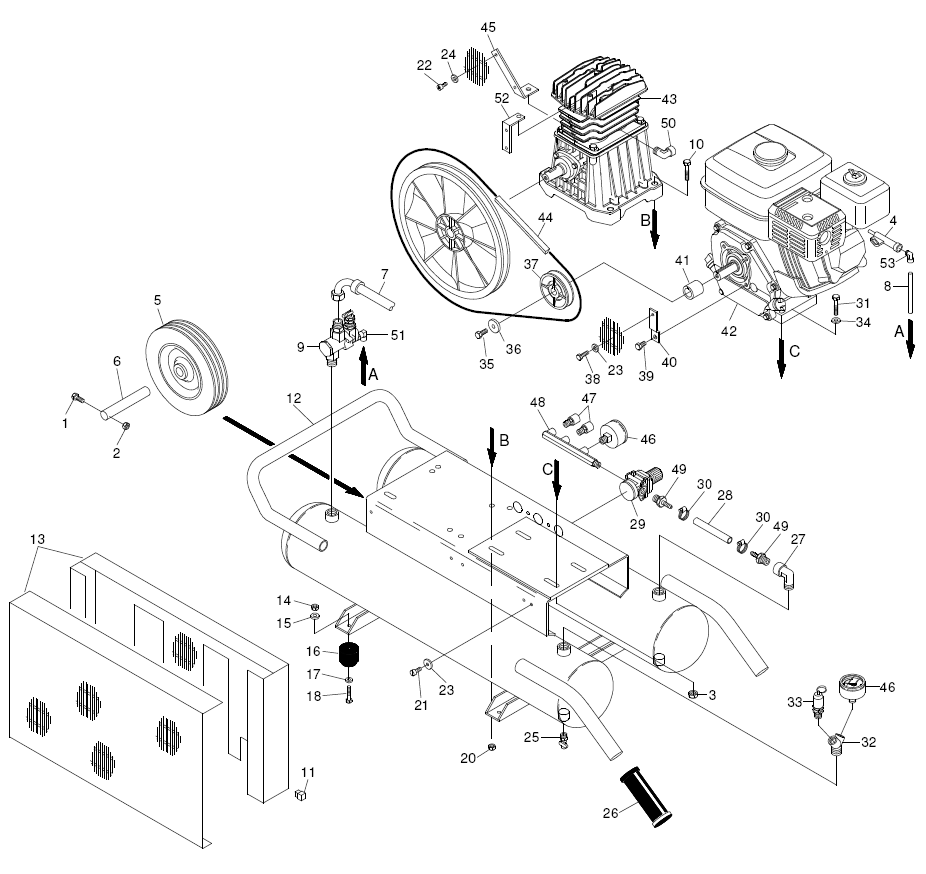 gas air compressor parts diagram