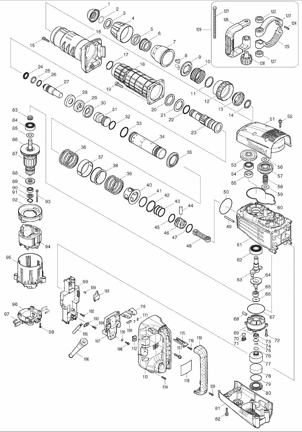 Buy Makita Hm1214c 27 Lb Avt Sds Max Replacement Tool Parts Wilton D6 List And Diagram Ereplacementpartscom Schematic