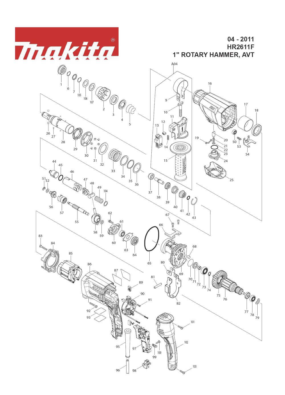 Устройство перфоратора макита 2450 схема