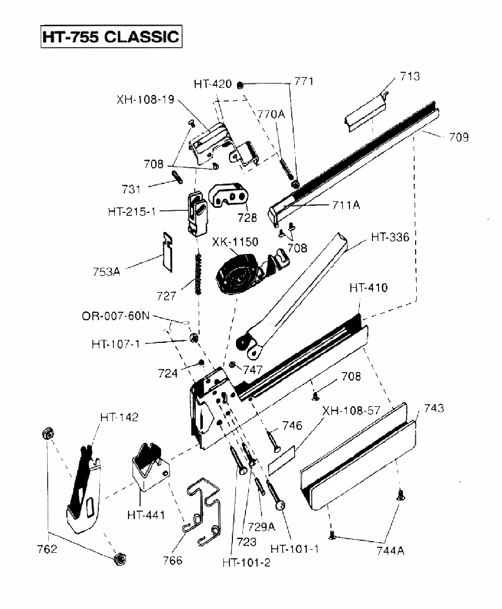 stapler with exploded assembly part list pictures to pin
